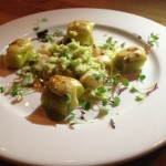 Poached Nantucket Scallops, Leeks, Green Cauliflower and Smoked Chipotle